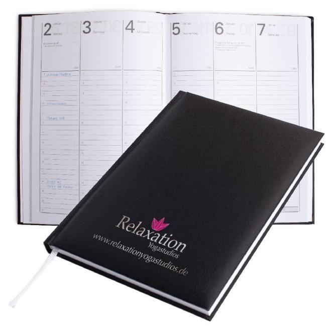 Buchkalender 2021 A5 (inkl. Prägung) schwarz